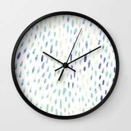 Watercolor Mink - Mint & Sapphire Wall Clock
