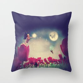Dream fairy in fantasy land with bright red tulips at night time Throw Pillow
