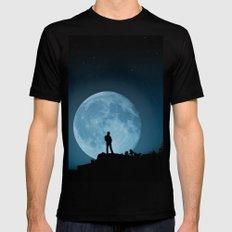 Man in the Moon Black Mens Fitted Tee MEDIUM