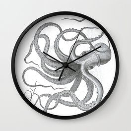 Vintage nautical steampunk octopus kraken sea monster steampunk drawing Wall Clock