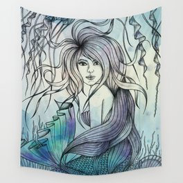 Watercolor Mermaid Wall Tapestry