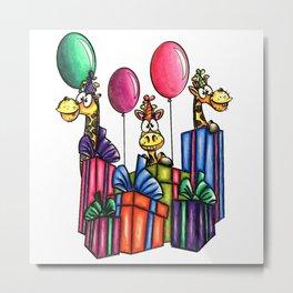 IMAGE #163 - BIRTHDAY GIRAFFES Digital Stamp by Sasayaki Glitter digital stamps- Naz- Metal Print