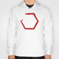 hexagon Hoodies featuring Red Hexagon by C Designz