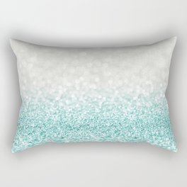 Mint Ombre Glitter Rectangular Pillow
