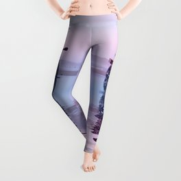 Where the Journey  begins Motorcycle at the Water Sunset Leggings
