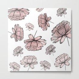 Hand Drawn Peonies Dusty Rose Metal Print