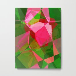 Pink Roses in Anzures 2 Abstract Polygons 2 Metal Print