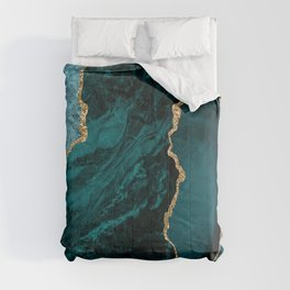Crushed Green Velvet, Teal And Aqua Marble Comforters