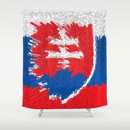 Extruded flag of Slovakia Shower Curtain