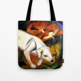 "Franz Marc ""Three animals (dog, fox and cat)"" Tote Bag"