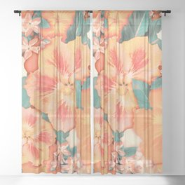 Aloha Orange Sherbet Sheer Curtain
