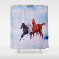 horses Shower Curtains featuring horses by shannon's art space