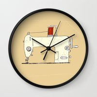 sewing Wall Clocks featuring Sewing machine by taichi_k