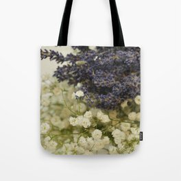 Lavender on gypsophila Tote Bag