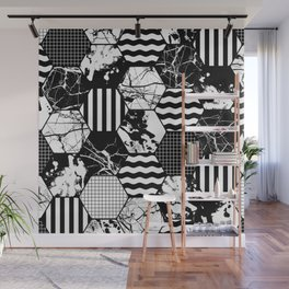 Hexual - Black and white, honeycomb, hexagon pattern, stripes, paint splats, grid and marble Wall Mural