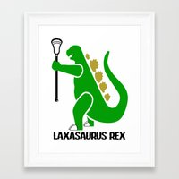 lacrosse Framed Art Prints featuring Lacrosse Laxasaurus Rex  by YouGotThat.com