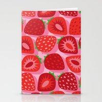 strawberry Stationery Cards featuring Strawberry by Helene Michau