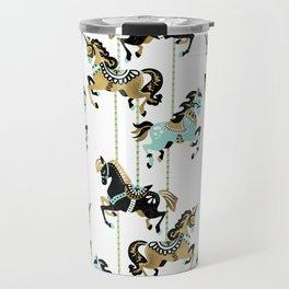 Carousel Horses – Mint & Gold Palette Travel Mug