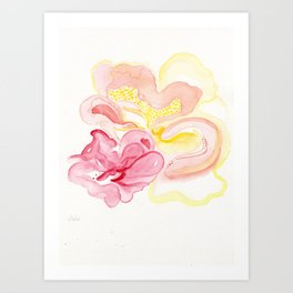 Watercolor abstract (Hibiscus) Art Print
