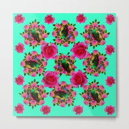 GREEN PEACOCK & PINK ROSE PATTERN ART Metal Print