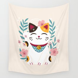 Japanese Lucky Cat with Cherry Blossoms Wall Tapestry