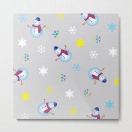 Snowflakes & Snowman_A Metal Print