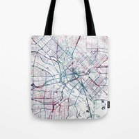 dallas Tote Bags featuring Dallas map by MapMapMaps.Watercolors