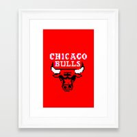 chicago bulls Framed Art Prints featuring Bulls Bulls Bulls by Art by Ken