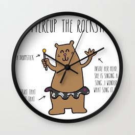 Buttercup the Rockstar Bear Wall Clock
