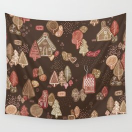 Hansel and Gretel Fairy Tale Gingerbread Pattern on Brown Wall Tapestry