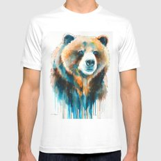 Grizzly bear  Mens Fitted Tee White MEDIUM
