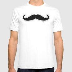 Mustache White Mens Fitted Tee MEDIUM