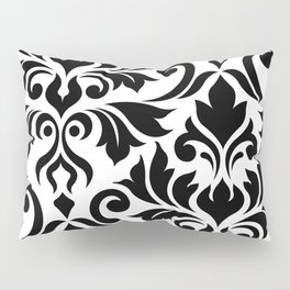Flourish Damask Art I Black on White Pillow Sham