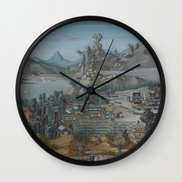 Old Chinese LANDSCAPE Wall Clock