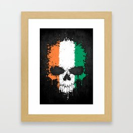 Flag of Ivory Coast on a Chaotic Splatter Skull Framed Art Print
