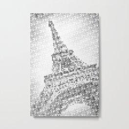 Typographic Art | PARIS Eiffel Tower Metal Print