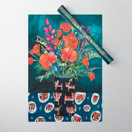 California Poppy and Wildflower Bouquet on Emerald with Tigers Still Life Painting Wrapping Paper