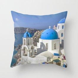 Santorini, Oia Village, Greece Throw Pillow
