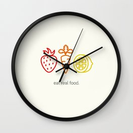 Eat Real Food. (light) Wall Clock