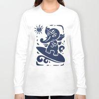 hindu Long Sleeve T-shirts featuring Ganesha surfer. Hindu God Ganesha. Summer illustration. by Katyau
