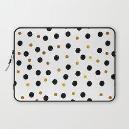 Black & Gold Glitter Confetti on white background- Elegant pattern Laptop Sleeve