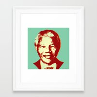 mandela Framed Art Prints featuring NELSON MANDELA by mark ashkenazi