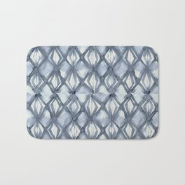 Braided Diamond Indigo Blue on Lunar Gray Bath Mat