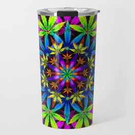 Stoners' Mandala Cannabis Leaves Travel Mug