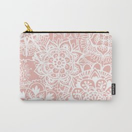 White and Rose Pink Mandala Pattern Carry-All Pouch