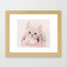 Cute Kitten in a Basket Looking Adorable Framed Art Print
