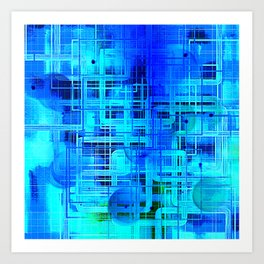 Vibrant Blue and Turquoise Line Abstract Art Print