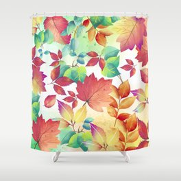 Watercolor Autumn Leaves Shower Curtain