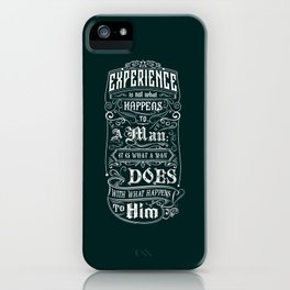 Lab No. 4 Experience Is Not What Happens To A Man Aldous Huxley Inspirational Quotes iPhone Case