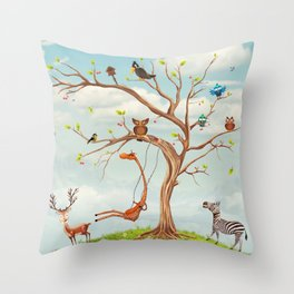 Tree with animals.Bunch of cute little creatures gathered on the branches of tree Throw Pillow